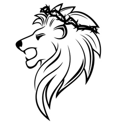 Heraldic lion with thorny wreath vector