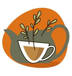 herbal organic and natural tea label or emblem vector image