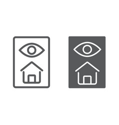 Home inspection line and glyph icon real estate vector