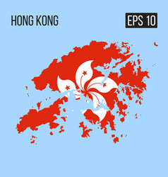 Hong kong map border with flag eps10 vector