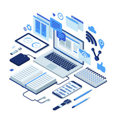 Isometric working process vector