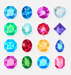 Jewels or precious gem stickers set vector