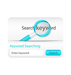 Keyword searching website element with magnifying vector image
