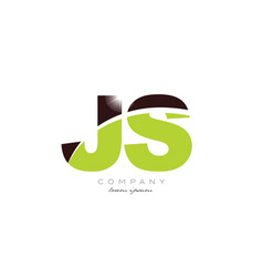 Letter js j s alphabet combination in green and vector
