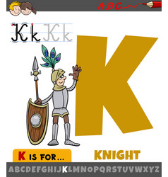 Letter k from alphabet with cartoon knight vector
