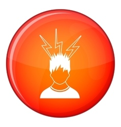 Lightning above the head of man icon flat style vector