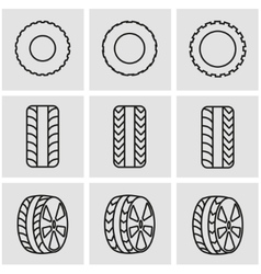 Line tire icon set vector