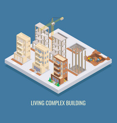 living complex building flat isometric vector image