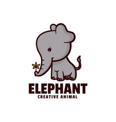 Logo elephant mascot cartoon style vector