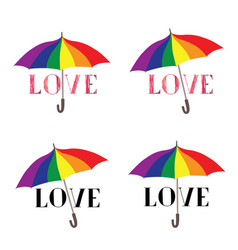 love lettering over rainbow color umbrella sign vector image
