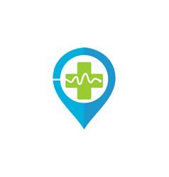 medical location heart pulse logo vector image