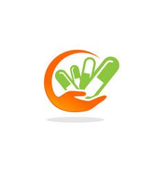 Medicine care capsule logo vector