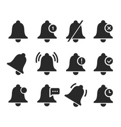 notification bell set sound signal element design vector image