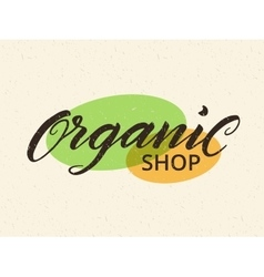 Organic shop label logo template for healthy food vector