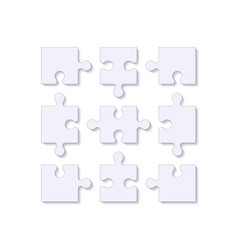 puzzle pieces jigsaw tile with shadow vector image