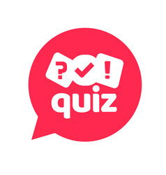 Quiz logo icon symbol flat cartoon red vector