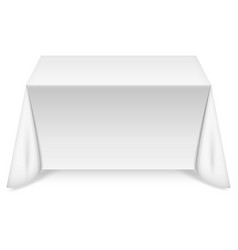 Rectangular table with white tablecloth vector