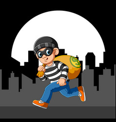 Running thief with eye mask vector