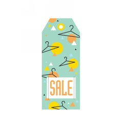 Sale tag with hangers and geometric pattern vector image