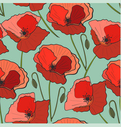 seamless pattern poppy flower vector image