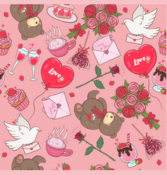 seamless pattern with romantic items vector image
