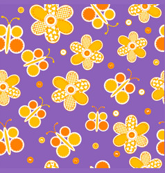 Seamless pattern with sewed butterflies and vector