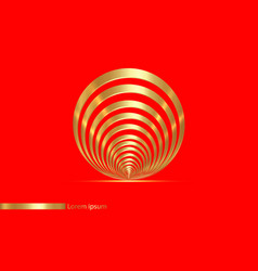 seashell sign golden lines in circle form design vector image