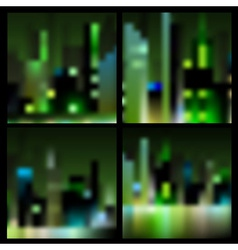 Set abstract blur night city backgrounds vector