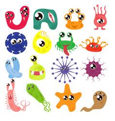 set cartoon bacteria fun characters cute vector image