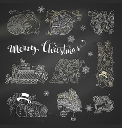 Set of chalk christmas design elements on vector