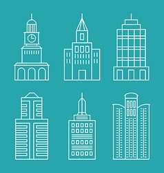 set outline buildings and houses vector image