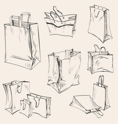 set shopping paper bags crumpled vector image
