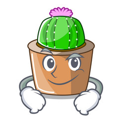 Smirking cartoon star cactus plants at cactus farm vector