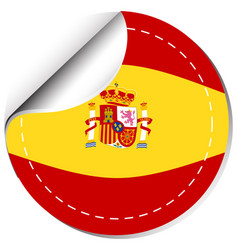 spain flag on round badge vector image