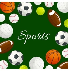 Sports gaming balls poster vector