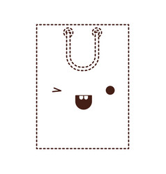square kawaii shopping bag icon with handle in vector image