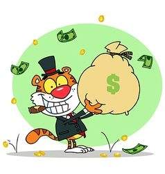 Successful Tiger Holding Up A Bag Of Money vector image