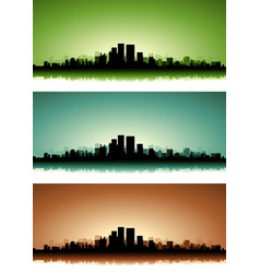 summer cityscape banner set vector image