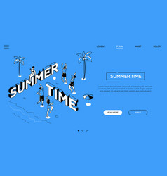 summer time fun landing page template vector image