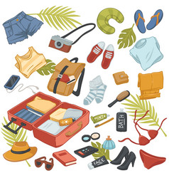 summer traveling and voyage belongings kit and bag vector image