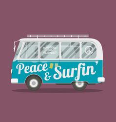 Surfers hippie van vector