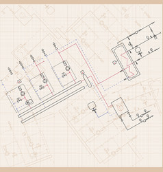 Technical engineering drawing blueprints with vector