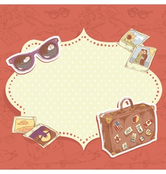 Travel postcard with suitcase vector