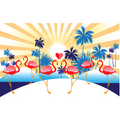 tropical background with red flamingos and vector image