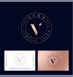 Vega logo gold star jewelry stamp business card vector