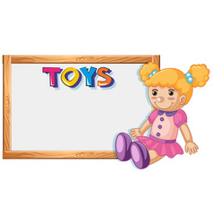 wooden frame template with cute doll vector image