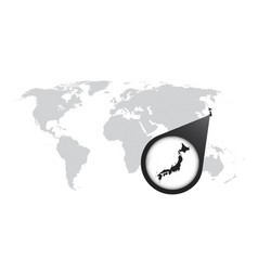 World map with zoom on japan map in loupe in flat vector