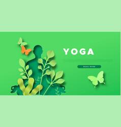 Yoga template papercut woman in lotus pose vector