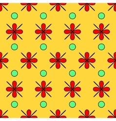 Flower red and circle seamless pattern vector image