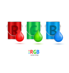 Realistic color metall can bucket and drop set vector